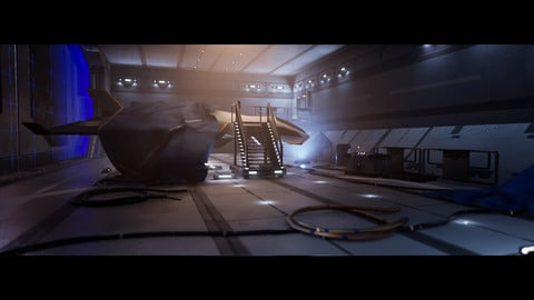 UE4-Modular Sci-Fi Environment Kit-bash (Spaceship hangars)