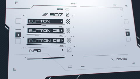 FUI / UI - Cyberpunk Sci-fi Game Menu / Buttons Template