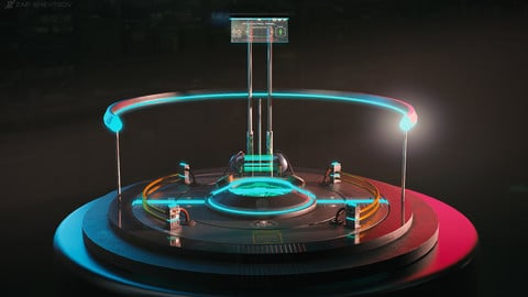 Sci-fi cyberpunk Teleport platform (low poly)