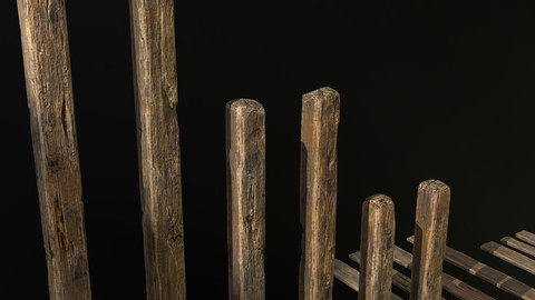 Old Wood Planks and Balks (Low-poly 3D model)