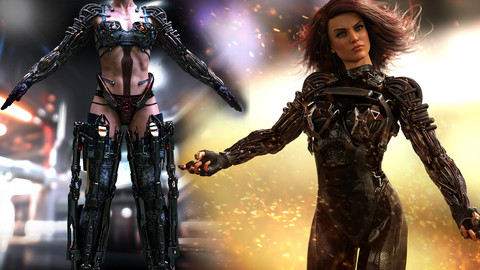 Rigged Character, Power Armor and Exo-Bikini Bundle