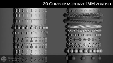 20 Christmas  IMM Curve Zbrush Brushes