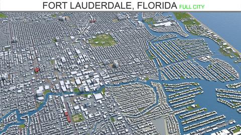 Fort Lauderdale city Florida 3d model  40km