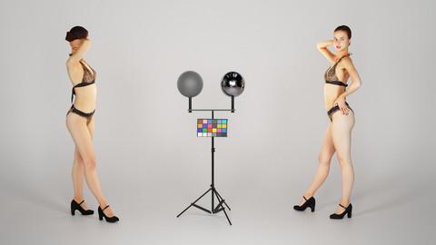 Beautiful woman in leopard bikini posing 227