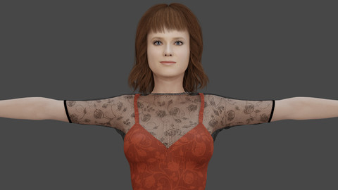 Mary - Realistic Girl With Dress (Low Polygon / 4K Textures)