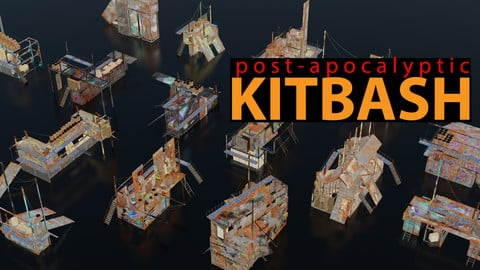 Post-Apocalyptic Kitbash, Shipping Container Themed, 60 pieces, 4k textures, FBX, OBJ and .blend files