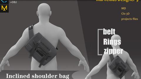 Male Casual&shoulder bag _ Clo3d, Marvelous Designer Project + FBX + OBJ
