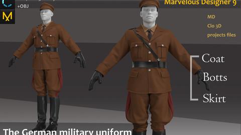 The German military uniform_ Clo3d, Marvelous Designer Project + FBX + OBJ