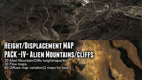 Height/Displacement map pack IV Alien Mountains/Cliffs