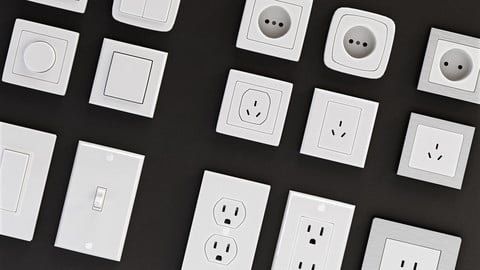 Power outlets and Lights Switches Pack Low-poly 3D Set
