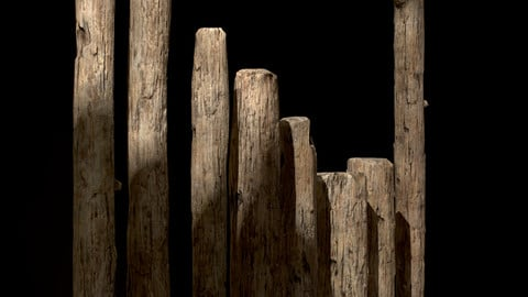 Old Wooden Poles and Planks (Low-poly 3d model)