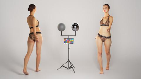 Beautiful woman in leopard bikini walking 230
