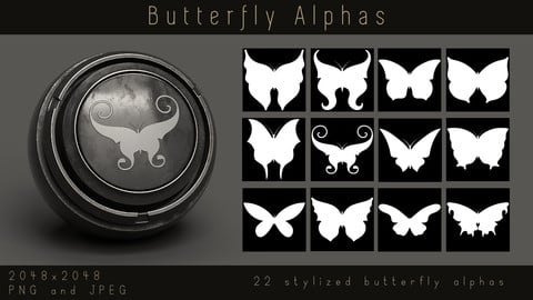 Stylized Butterfly Flying Insect Alpha pack for Substance, PNG, JPEG