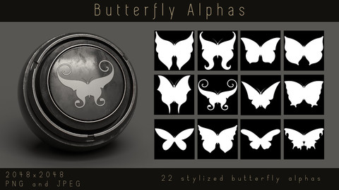 Stylized Butterfly Flying Insect Alpha pack for Substance and zbrush, PNG, JPEG