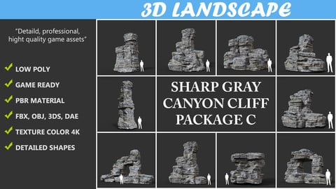 Low poly Gray Cliff Rock 2020 Package C