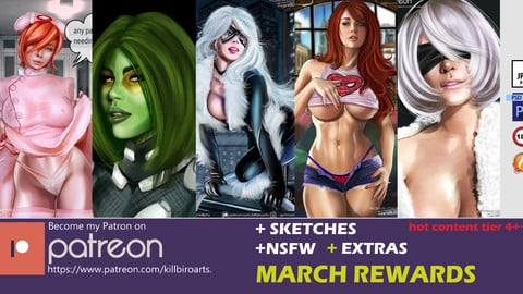 MARCH 2019 BUNDLE   (HQ,NSFW , PSD,SKETCHS)