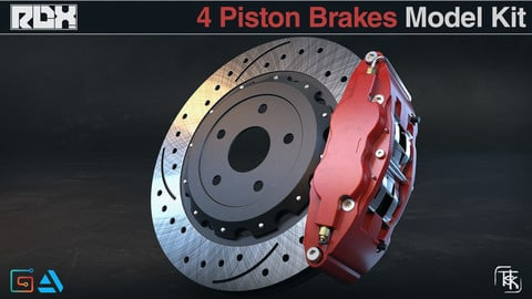 Car Brakes Model Kit (4 Piston Calipers)