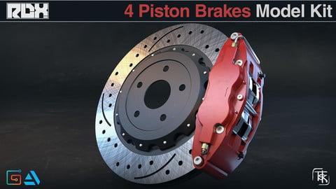 Car Brakes Model Kit (4 Piston Calipers)