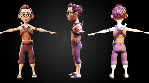 Stylized Character Boy - Blender Cycles And Eevee - Clark - 3D Model