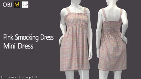 Women's Pink Smocking Dress