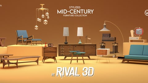 Stylized Mid-Century Furniture Collection