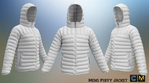 Mens Puffy Jacket,Marvelous designer, Clo3d
