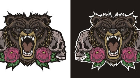 """New print - """"Bear with peonies"""""""