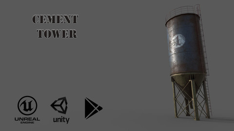 Cement Tower Low-poly 3D model