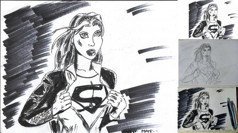 Supergirl Portrait Ink