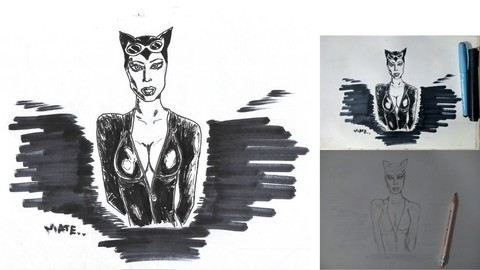 Catwoman  Ink drawing- for coloring/printing/reference