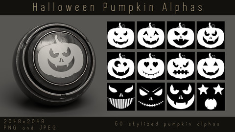 Stylized Carved Pumpkin Alphas - Halloween Face Alpha pack for Substance, PNG, JPEG