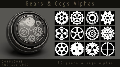 Steampunk Gear Alphas - 50 Mechanical Cogs Alpha pack for Substance and zbrush, PNG, JPEG