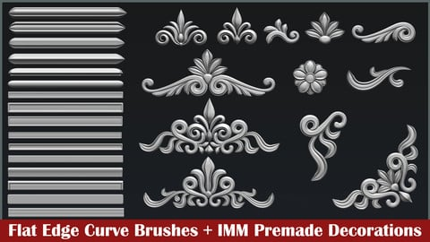 17 Flat edges curve brush + 13 IMM floral decorations
