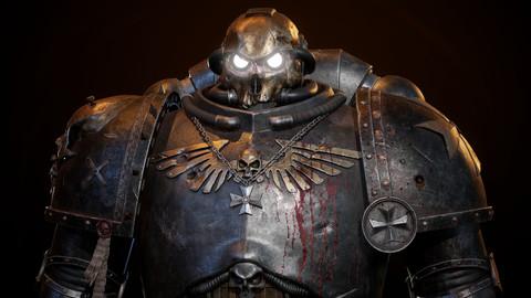 Warhammer 40k Black Templar Chaplain Space Marine High Poly 3D Model