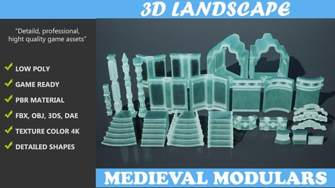 Low poly Medieval modular Ice construction Pack 200528 VR