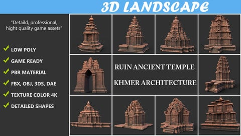 Ruin Ancient Temple - Khmer Architecture Pack A-01