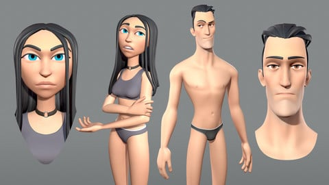 Male and female cartoon characters base mesh