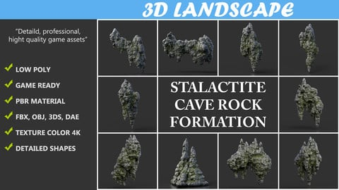 Low poly Black Mossy Stalactite Cave Rock Modular Pack C 200221