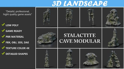 Low poly Black Mossy Stalactite Cave Rock Modular Pack B 200221