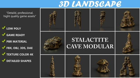 Low poly Brown Stalactite Cave Rock Modular Pack B 200221