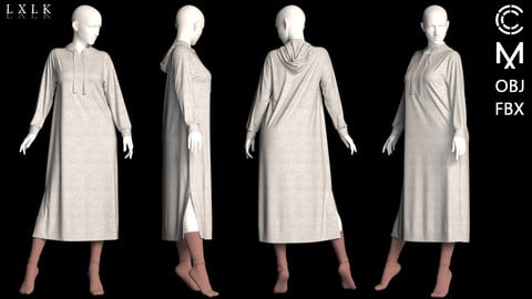 Women's Hooded sweatshirt dress with socks - MD, Daz3d