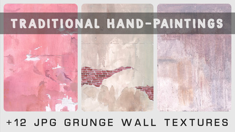 GRUNGE WALL TEXTURES - Traditional painting pack - 12 JPG & 1 bonus PSD