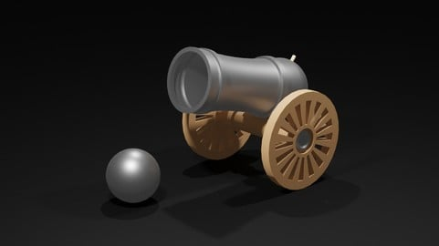 Low Poly Cannon & Cannonball