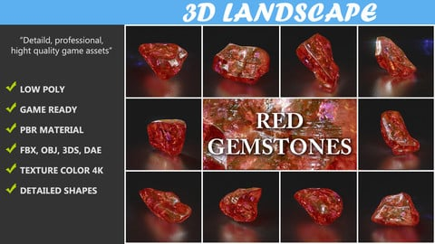 Low poly Red Gemstone Pack 200115