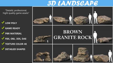 Low poly Brown Granite Rock 01 200103