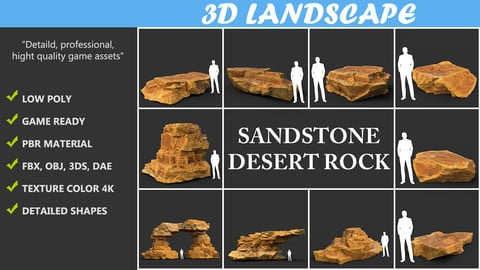 Low poly Yellow Sandstone Desert Pack 200209