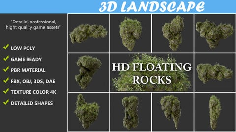 High poly Floating Island Mossy Rock Pack 190502