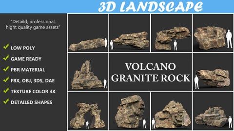 Low poly Granite Cliff Rock 01 191230 Pack A