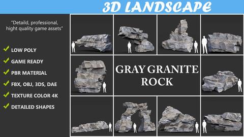 Low poly Gray Granite Rock 01 200101 Pack B
