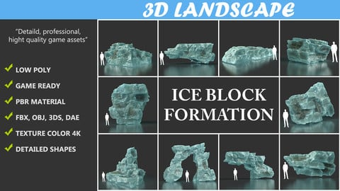 Low poly Ice Block 01 200226 Pack C